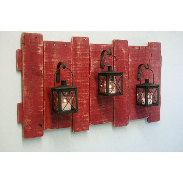Pallet Wall Decor With Lanterns Rustic Decor Shabby Chic Decor Home... (6.530 RUB) ❤ liked on Polyvore featuring home, home decor, wall art, black, home & living, home décor, wall décor, black home decor, colored lanterns and black paintings