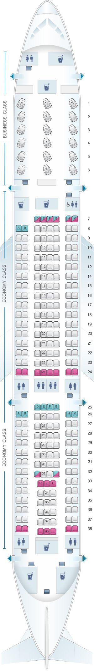 Seat Map Air Serbia Airbus A330 200