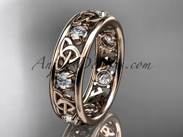 14kt rose gold celtic trinity knot wedding band, engagement ring CT7160B