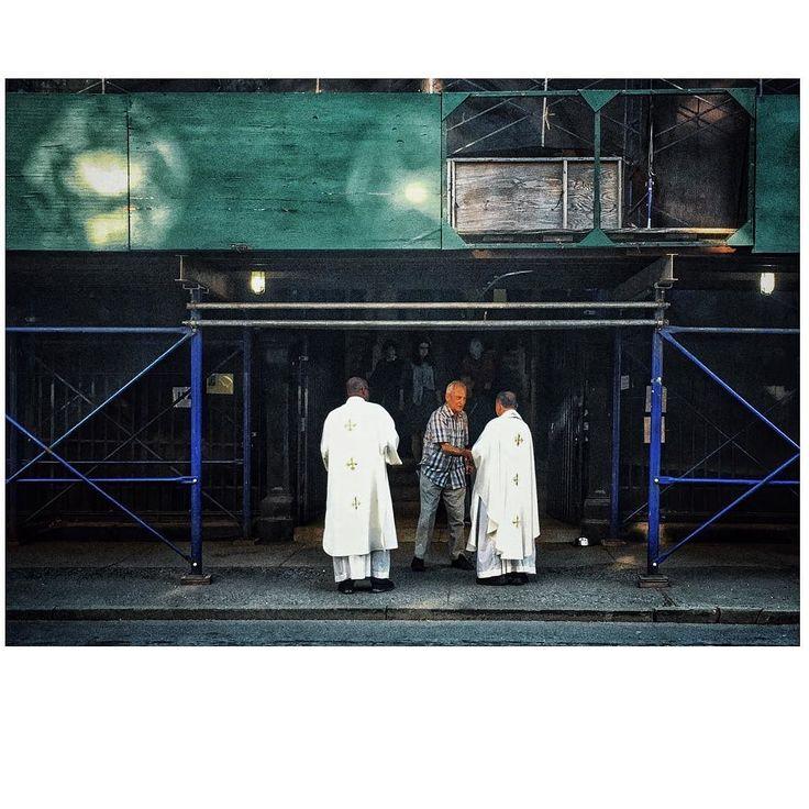 """Faithful Greetings""  Carroll Gardens Brooklyn NYC  #SionFullana #NYC #NewYork #CarrollGardens #Brooklyn #mass #church #religion #priests #cinematic by sionfullana"