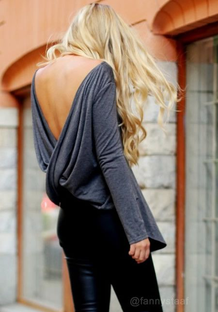 Draped V-back Top - Grey - Insane Sexy Top Blouse. Be a tease at a party with this soft, long-sleeved top, which features a modest scoop neckline at the front and a deep V at the back