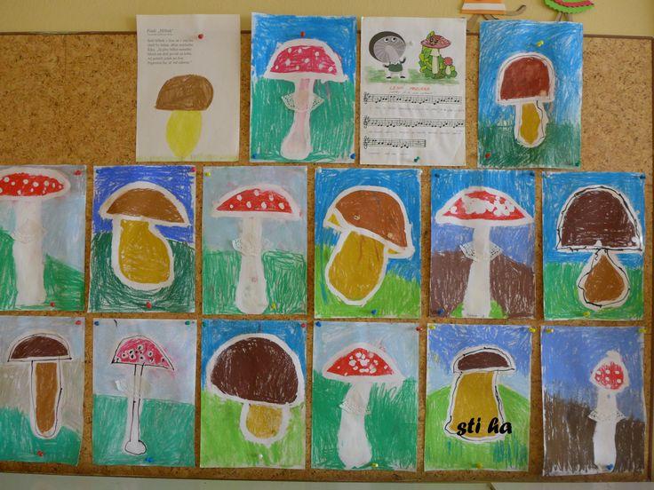 houby - vymývaná klovatina, suchý pastel