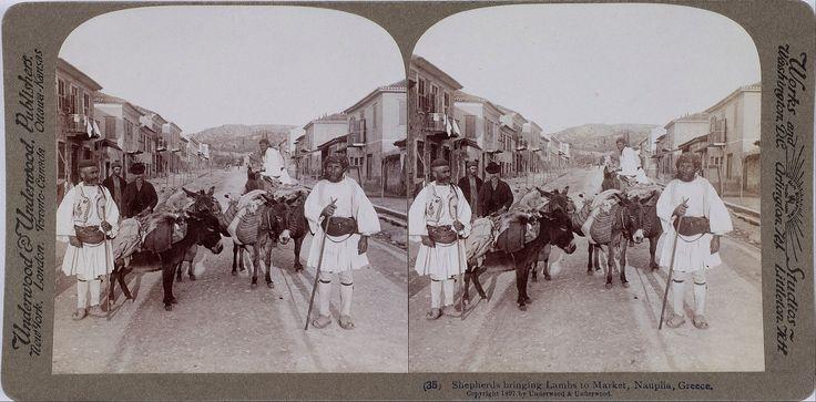 Shepherds leading sheep to the Nafplion Market 1897. File:Underwood & Underwood. (Details of artist on Google Art Project)