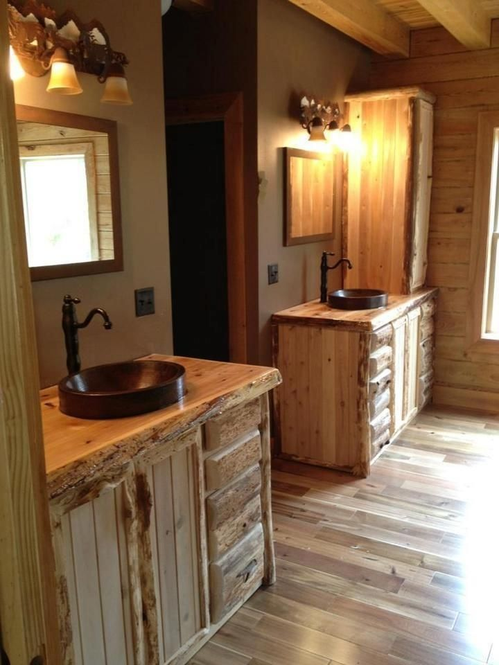 Custom Made Rustic Cedar Bathroom Vanity