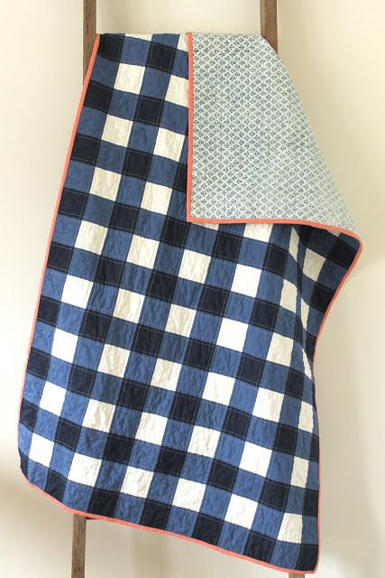 craftyblossom: navy gingham quilt.