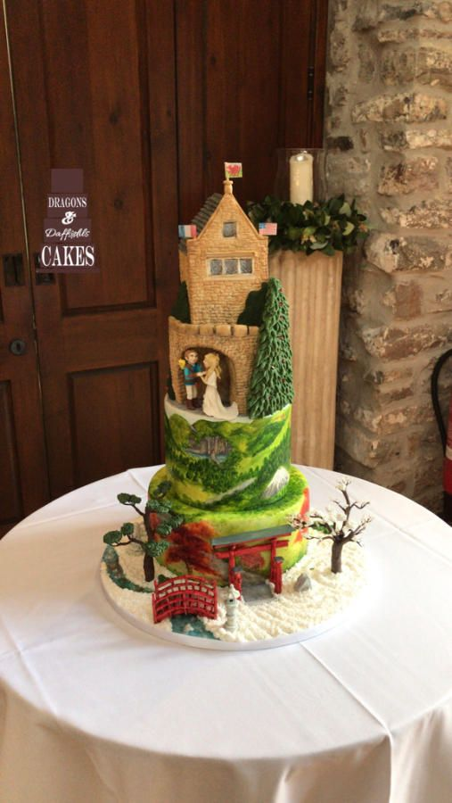Hand painted welsh & japanese wedding cake  by Dragons and Daffodils Cakes - http://cakesdecor.com/cakes/298233-hand-painted-welsh-japanese-wedding-cake
