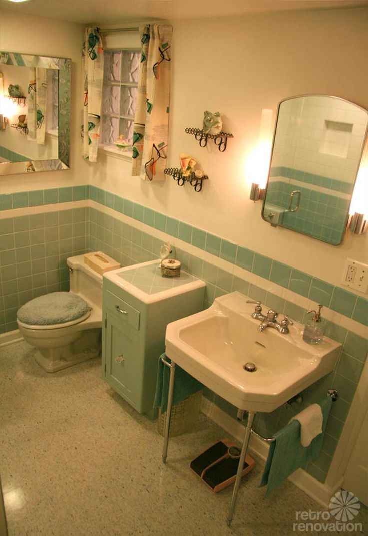 38 best vintage tile bathrooms images on pinterest for Blue green bathroom ideas