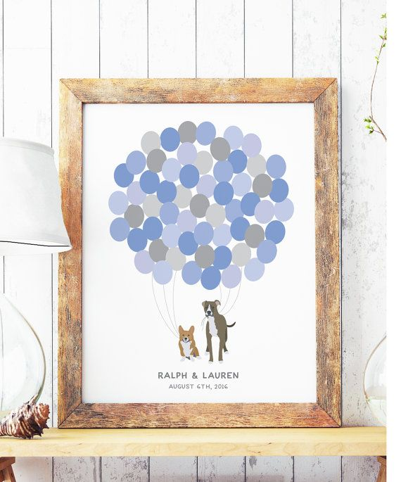 Wedding Guest Book poster with Dogs holding balloons, unique wedding guestbook, Dog guest book, Available as Wood or Canvas Guest Book