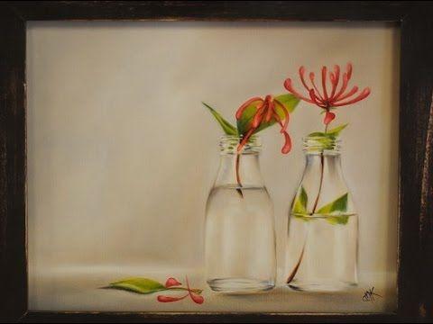 Como pintar al oleo- Botellas con flores - Claudia Kunze