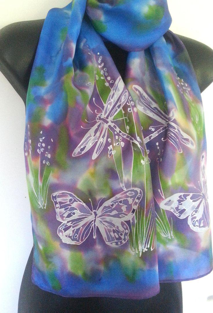 DRAGONFLIES & BUTTERFLIES, New Zealand Handpainted SILK Scarf, Wild flowers, Blue, Green, Purple, Silver, Habotai Silk,Gift Card Included by KiwiSilks on Etsy
