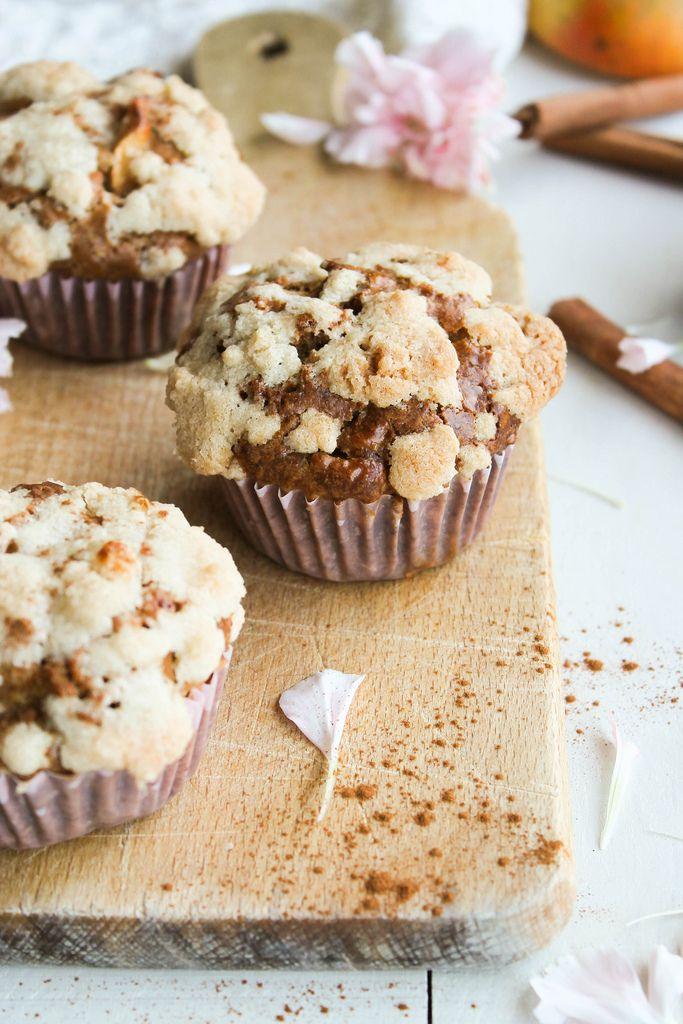 Muffins aux pommes et streusel {sans lait} - aime & mange