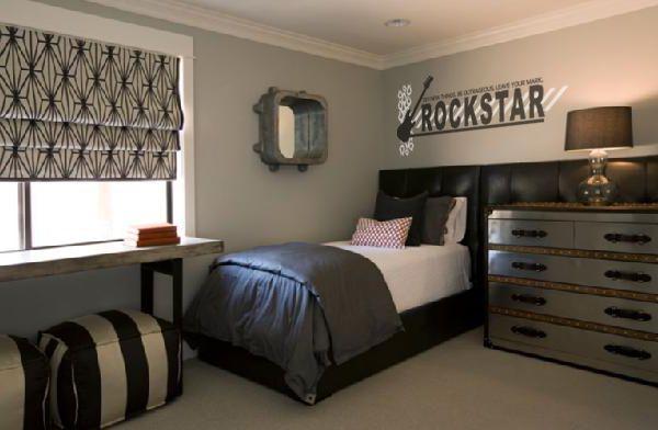 """Boy N Girl Bedroom Ideas: """"Rockstar"""" Vinyl Lettering Wall Decal Guitar Bedroom Decor"""