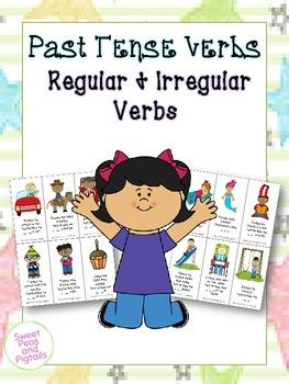 Includes 72 past tense verb flashcards and targets both regular past tense AND irregular past tense verbs! Use also with non-readers working on describing actions and using the present progressive -ing (He is running).