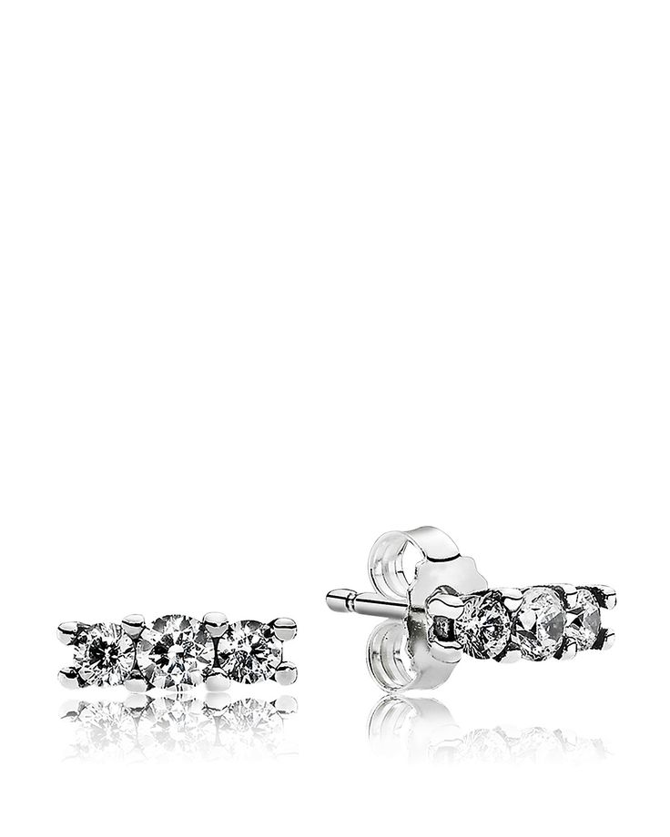 PANDORA Earrings - Sterling Silver & Cubic Zirconia Sparkle Studs