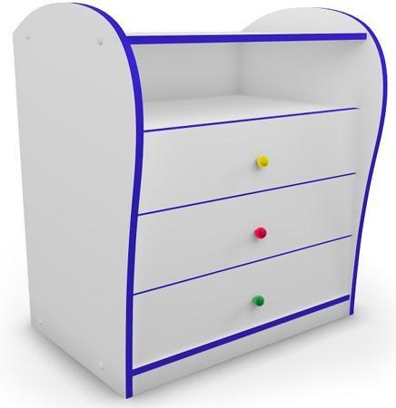 Комод (синий)  — 9530р. ---------------------------------------- Комод для детской комнаты с цветной кромкой и разноцветными ручками. Придаст спальне яркость и веселое настроение. Идеально подходит к кроватям серии «Кидс». Специальная система направляющих с доводчиками предотвращает резкое шумное закрывание ящиков и делает использование мебели еще более комфортным.  Реальный цвет может отличаться от представленного на сайте, ввиду различных настроек монитора.