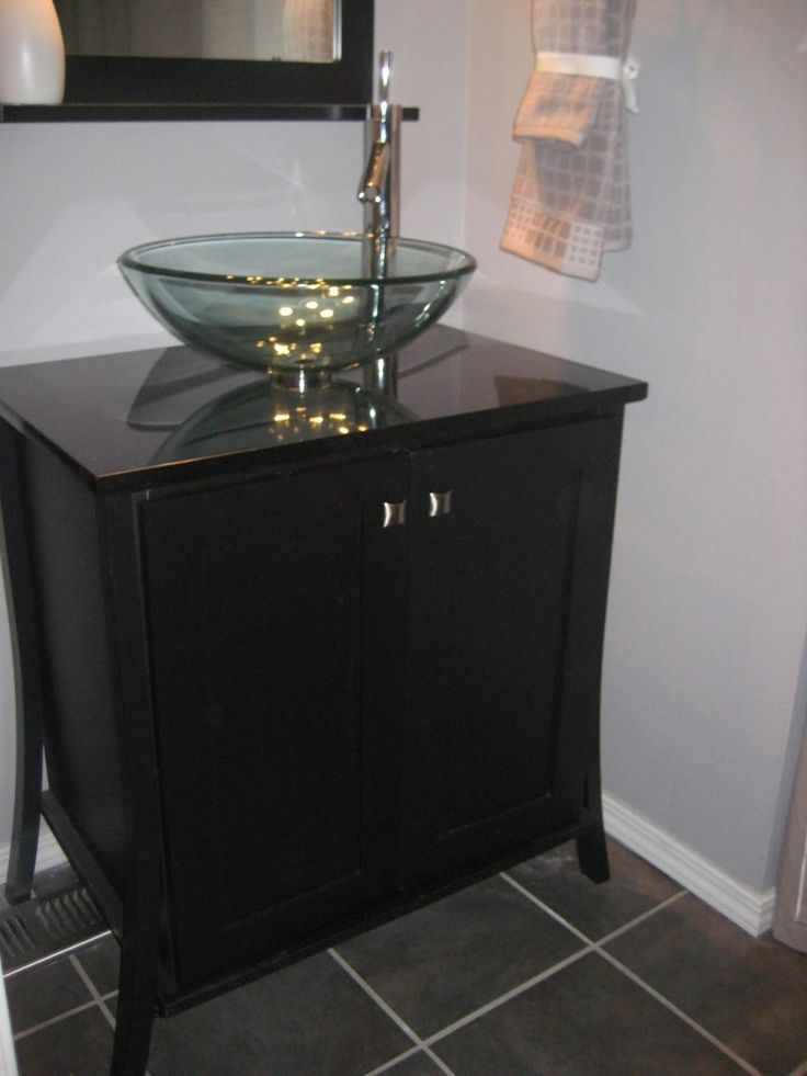 Photo Of Small Bathroom Sink Ideas es with Dark Wooden Laminated Vanity With Double Doors and Freestanding Glass