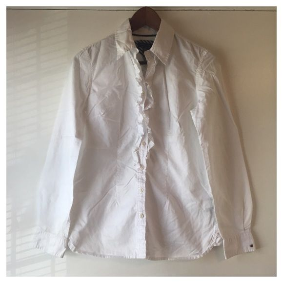 Tommy Hilfiger White ruffle blouse Ruffled Blouse- everybody needs a good white blouse! Tommy Hilfiger Tops Blouses