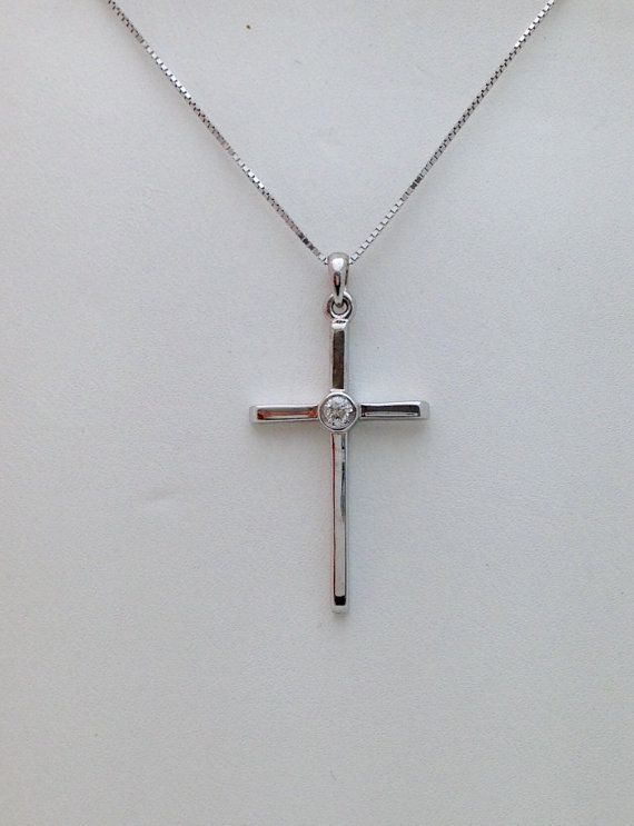 Diamond Solitaire Cross Pendant by LuxinelleJewelry on Etsy
