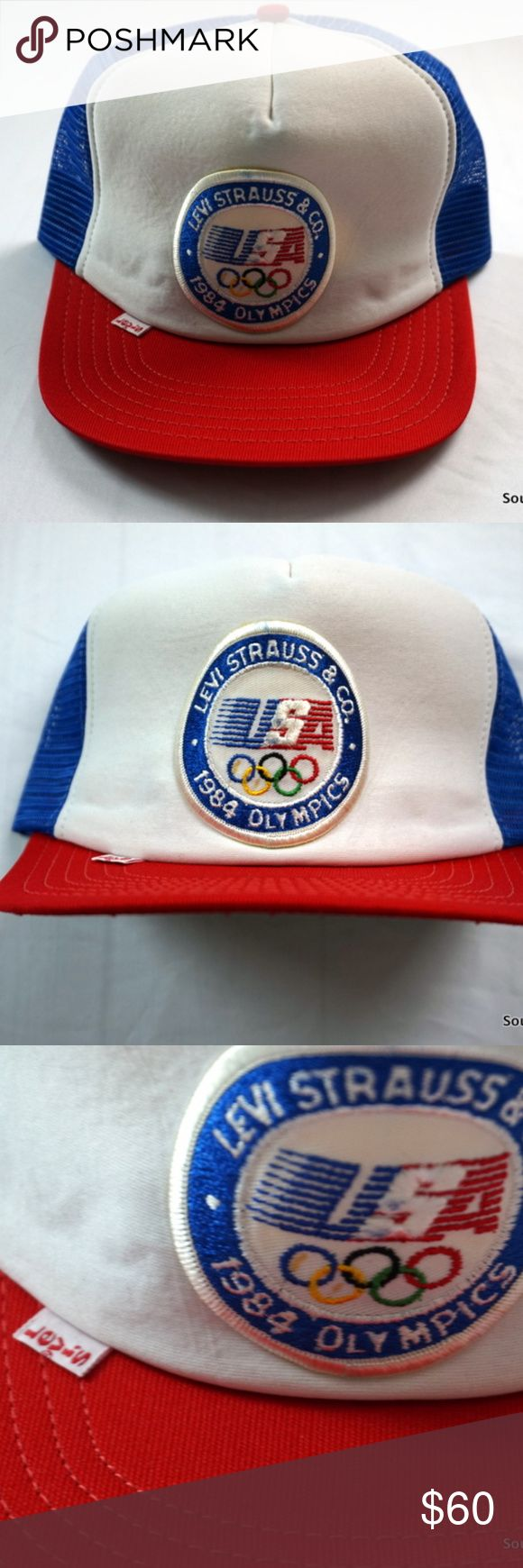 Levi Strauss 1984 Olympics Team USA Snapback Hat Vintage Levi Strauss 1984 Olympics Team USA Hat New Mint Shape Adult OSFA  Rare Hat & In Mint (New) Condition!  Brand: The Winner Size: Adult OSFA  Made in the USA  In Mint Shape, New Without Tags! Ships in 1 business day or less in a cardboard hat sized box from a clean smoke free environment. Thanks! Levi's Accessories Hats