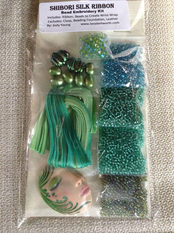 Bead Embroidery Shibori Ribbon Kit by BeyondBeadsGallery on Etsy, $85.00