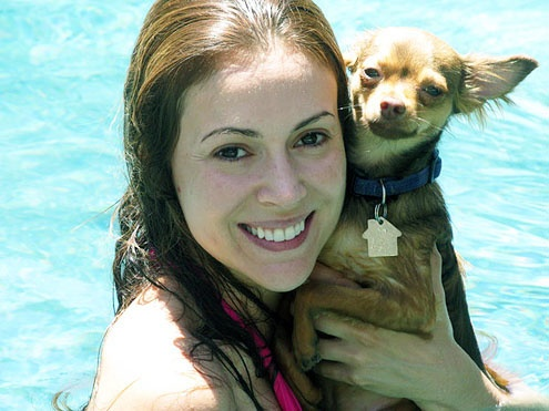 Alyssa Milano and her dog Gibson