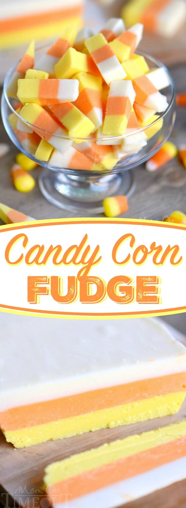 This Easy Candy Corn Fudge recipe is going to become an annual tradition! Layers…