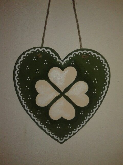 Hand painted wood heart