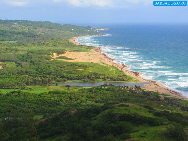 The stunning east coast of Barbados, looking north from Barclays Park to Cove Bay.