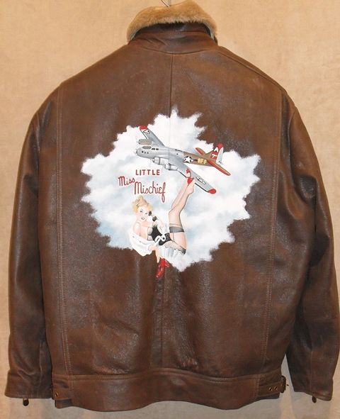 """""""Little Miss Miss Chief"""" Nose art on leather jacket"""