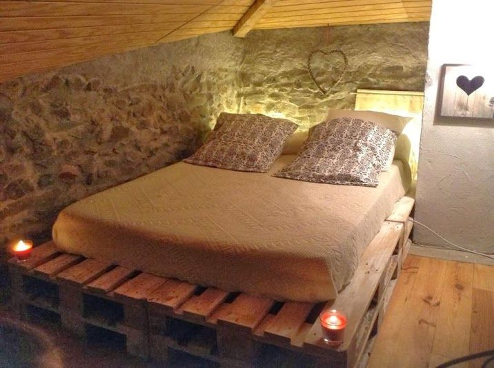Cama con palets pallets pinterest for Camas con palets