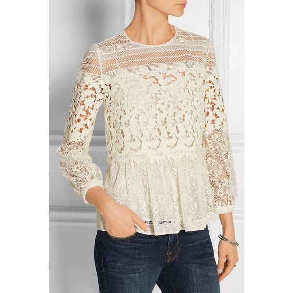 Burberry Prorsum Paneled cotton-blend lace peplum blouse (7,535 PEN) via Polyvore featuring tops, blouses, lace peplum blouse, vintage white blouse, burberry blouse, off white peplum top y burberry