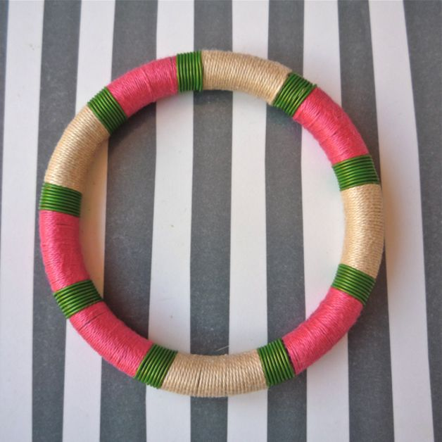 """""""Terere"""" Collection  Bracelet with yarn crochet. Coated copper wire.   Color: Beige, green and pink.   See other collection here: www.carla-amaro.com"""