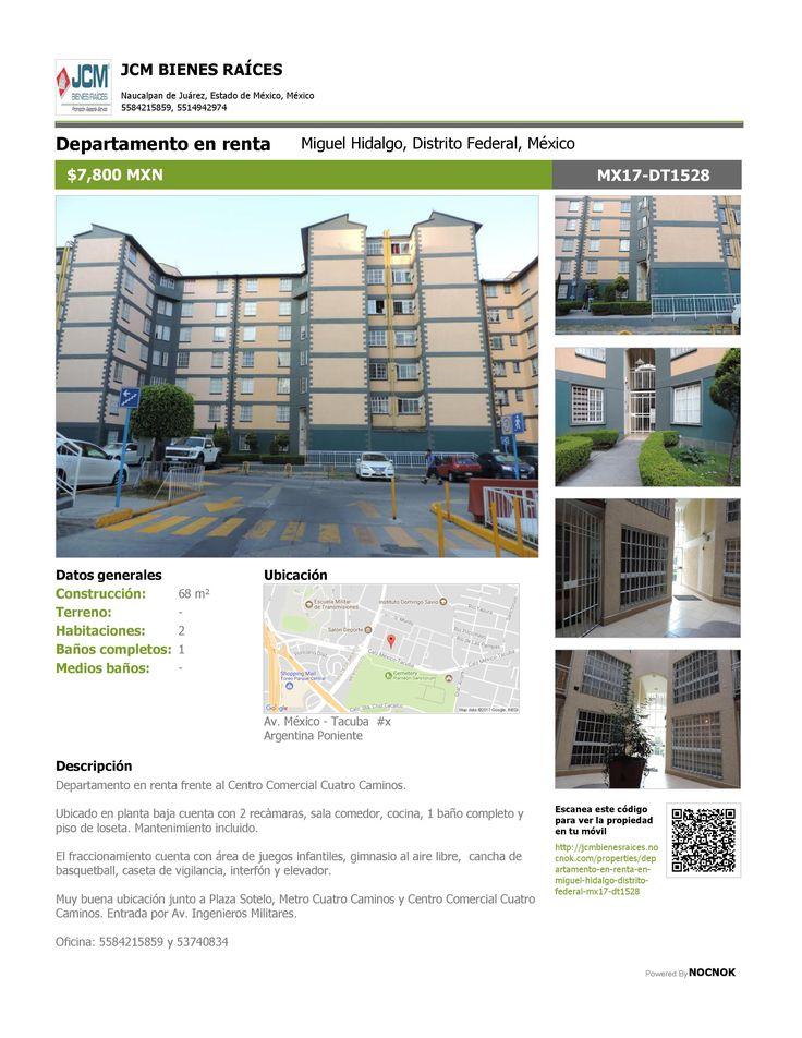 MX17-DT1528 Departamento en renta en Av. Mèxico- Tacuba, Argentina Poniente, Miguel Hidalgo, Ciudad de México. $7,800 MXN ¡Llamanos! 53740834