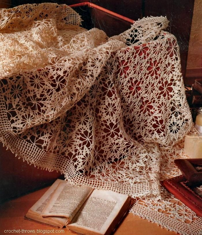 Crochet tablecloth or Bedspread white