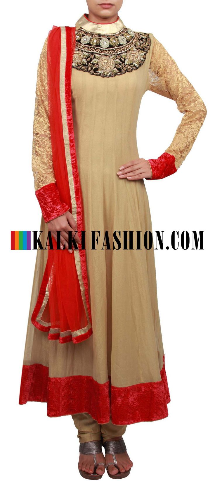 Get this beautiful golden outfit here: http://www.kalkifashion.com/gold-anarkali-suit-embroidered-in-zardosi-and-french-knot-only-on-kalki.html Free shipping worldwide. #50ShadesOfGold