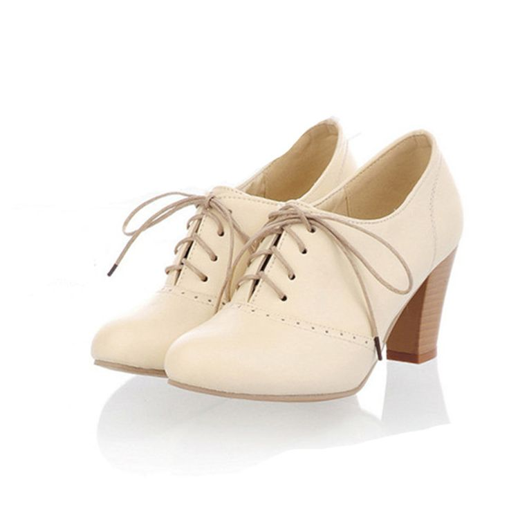 British style fashion vintage nude pumps lacing thick heel high heel oxford shoes for women $25.27