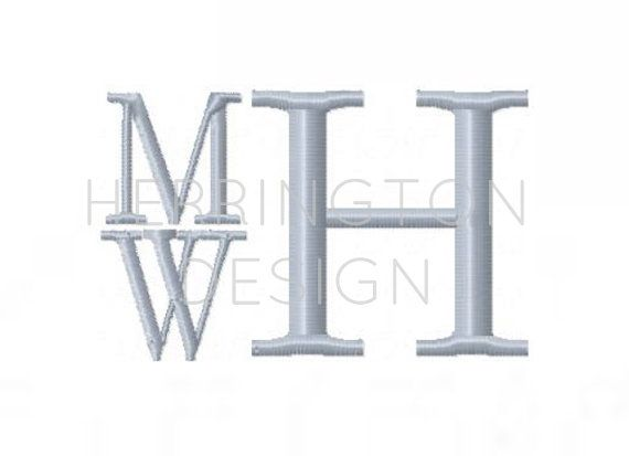 "1/2"" inch Embroidery Font Stacked monogram Typwriter Vintage Serif Embroidery Font Gibson 4x4   BX instant download"