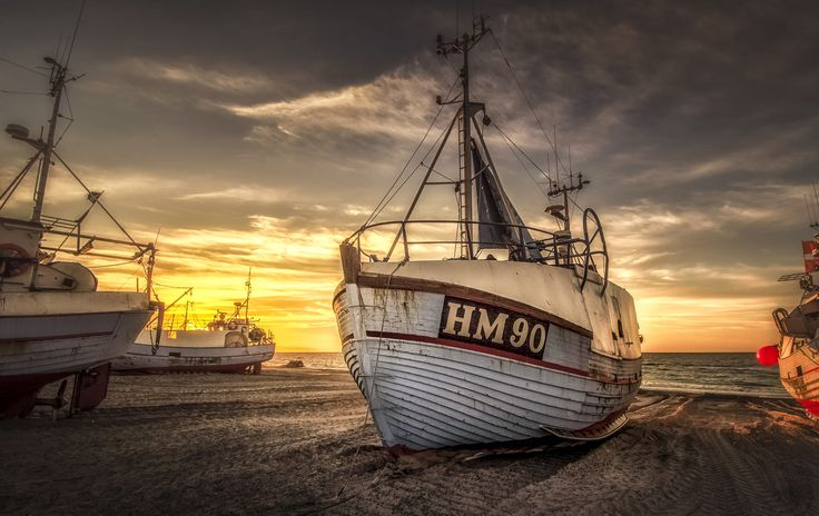 A fishing vessel at Thorup Strand in Denmark