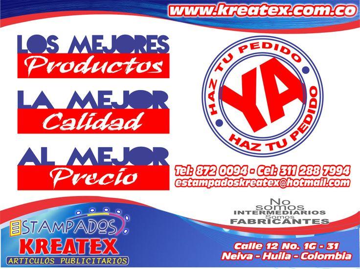 los mejores PRODUCTOS, la mejor CALIDAD, al mejor PRECIO. www.kreatex.com.co
