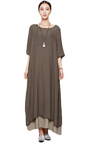 Mordenmiss Women's Summer New Short Sleeve Two Layers Maxi Dresses Coffee Mordenmiss http://www.amazon.com/dp/B00Y41YQG0/ref=cm_sw_r_pi_dp_kUNlwb0E6EWDX