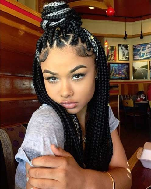 Black Box Braids with a Pop of Grey