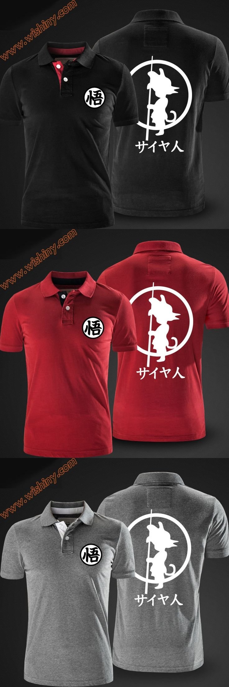 Dragon Ball Kakarotto Polo Shirts Men Short Sleeve DBZ Son Goku Character Tops DB Summer Solid Black Red Grey Polo Cool