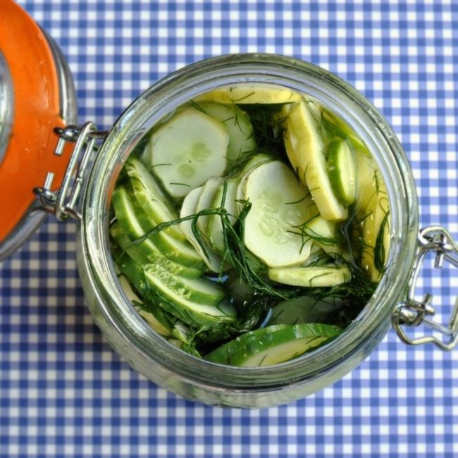 Easiest-Dill-Lovers-Refrigerator-Pickles.  NO HEAT REQUIRED.  These are seriously zingy.  Add some water to the recipe to tone it down a bit, if you want!