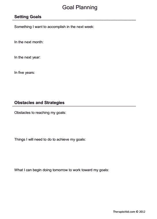 Basic goal setting worksheet (short and long-term goals)