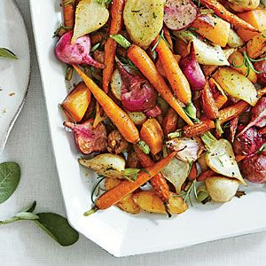 The combination of colors, shapes, and flavors in Roasted Root Vegetables will satisfy your dinner guests. Use any 4-lb. combo of hardy root vegetables to make this simple side.