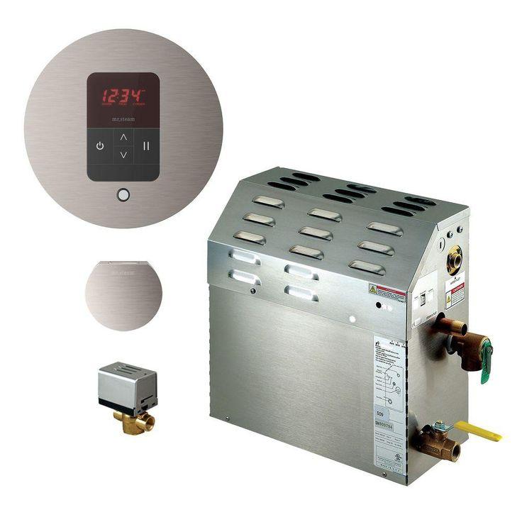 Mr. Steam 5kW Steam Bath Generator with iTempo AutoFlush Round Package in Brushed Nickel