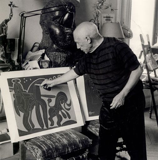 Picasso's printmaking techniques. This image reminds me of John Snyder.