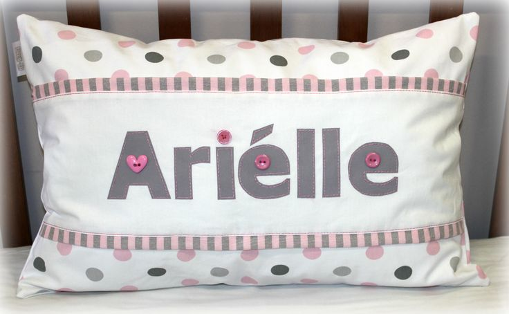 Arielle Name Scatter in pink & grey #cotlinen #Arielle #nursery #babyroom #pink&grey #name Designed by: Tula-tu Baby Linen