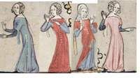 14th Century, sideless suroats and overgowns with tippets. To be worn over cotehardies.