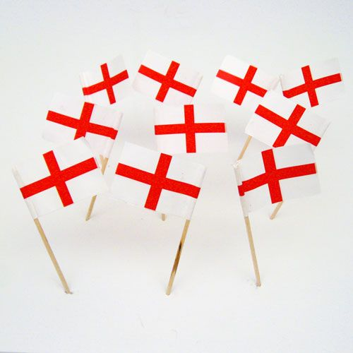 English Flag Toothpicks | England | St George Cross | Theme Party Decorations